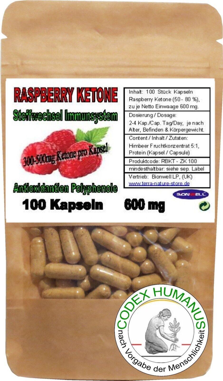 100 Kapseln 600 mg Raspberry Ketone. Himbeerketon. STOFFWECHSEL  IMMUNSYSTEM