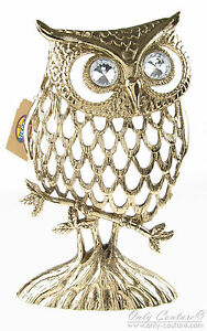 Fossil Brand Owl Crystal Accent Gold Tone Earring Jewelry ...