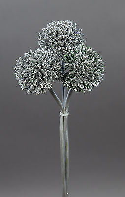 3 Stück Mini-Allium 30cm silber DP - Kunstzweig Kunstblumen künstliches Allium