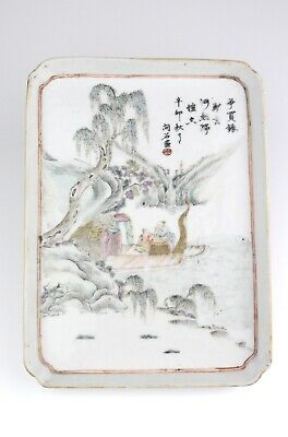 Antique Chinese 19th Century Qing Famille Rose Porcelain Tray