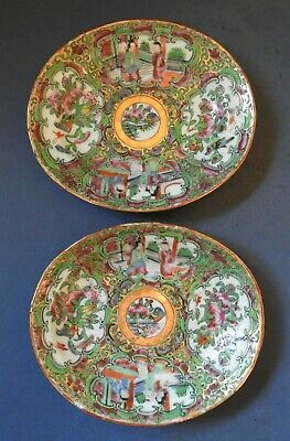 PAIR OF CHINESE CANTON / ROSE MEDALLION PORCELAIN DISHES - 19TH CENTURY