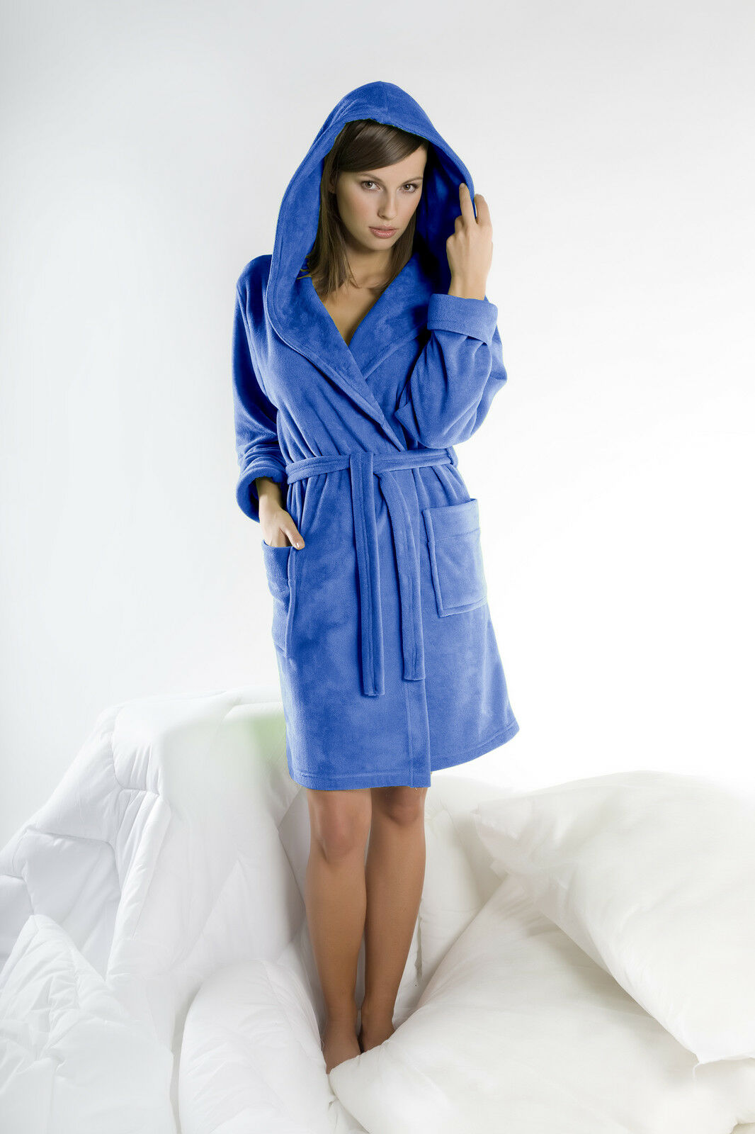 Women' Soft Luxury Bathrobe Dressing Gown Housecoat With Belt And Hood