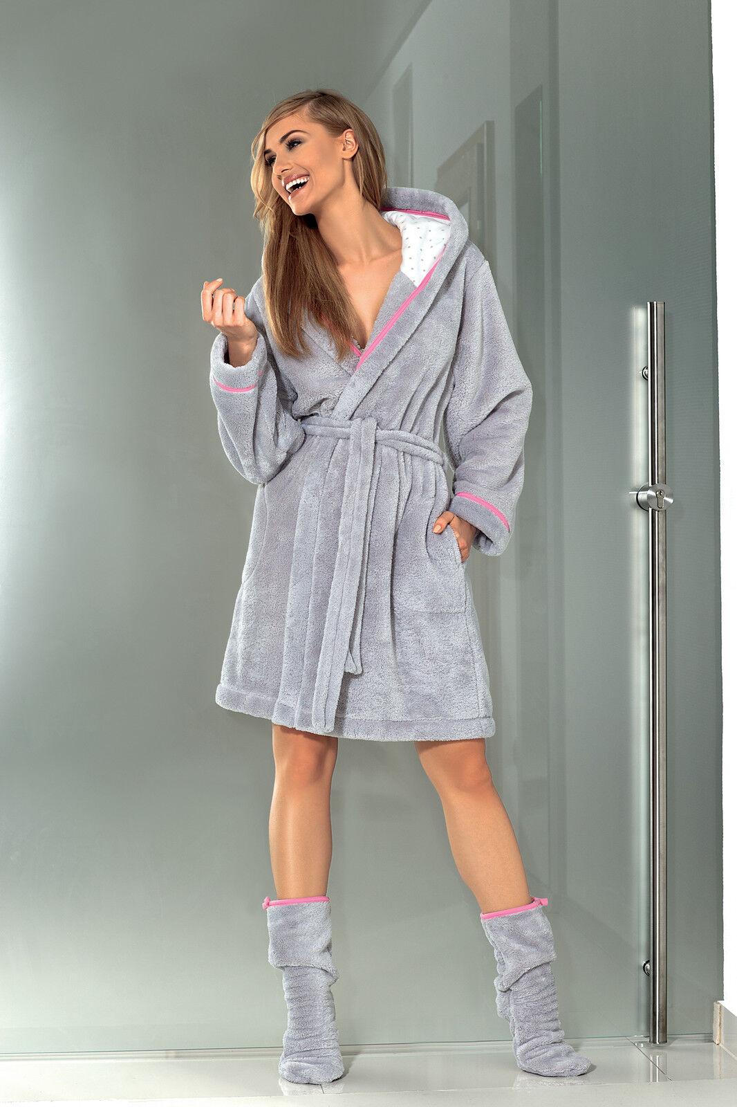 Womens Luxury Soft Bath Robe Housecoat Dressing Gown Bathrobe With Belt And Hood