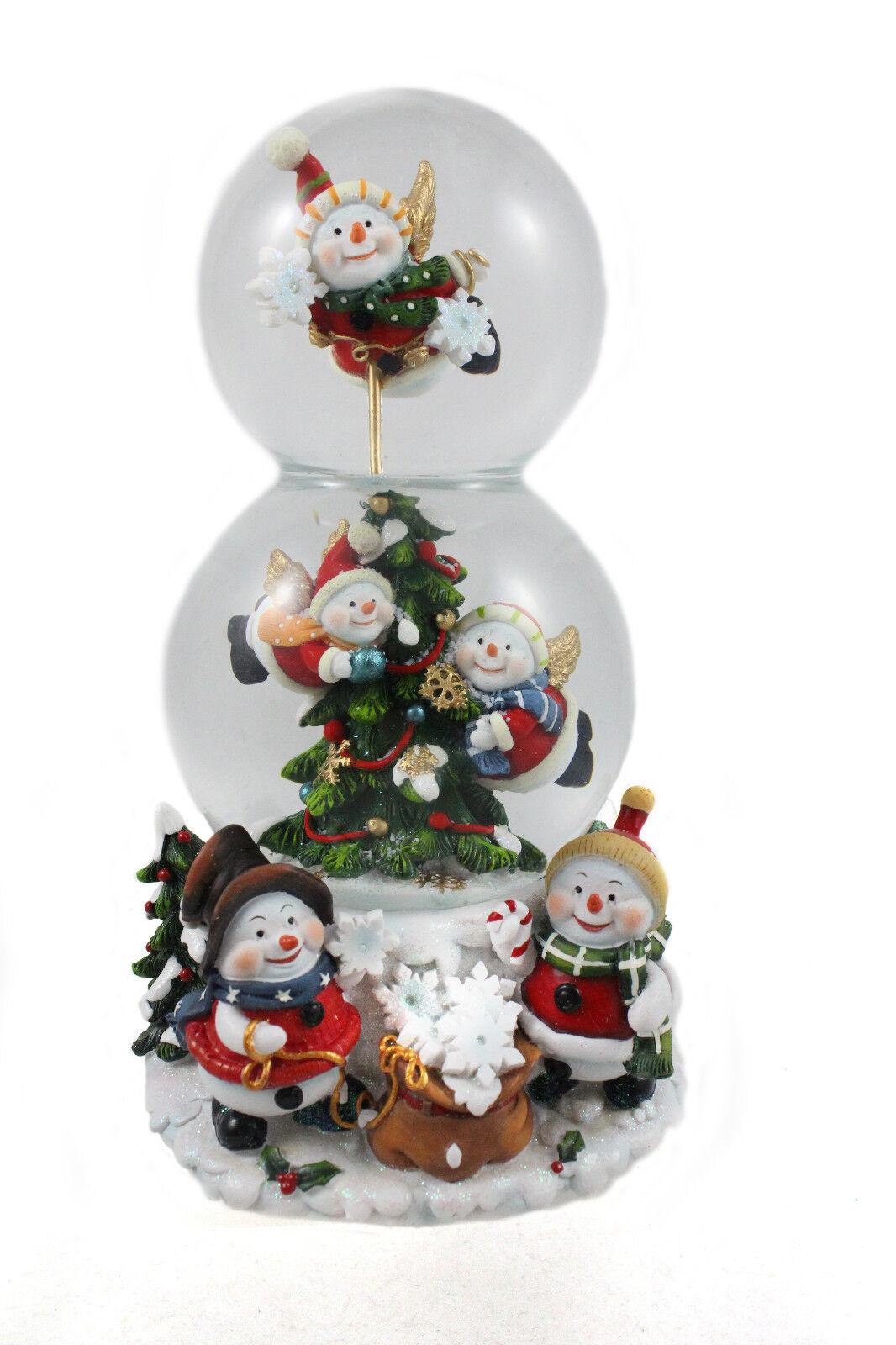 Doppelte Schneekugel mit Schneemännern und Spieluhr (4900470)