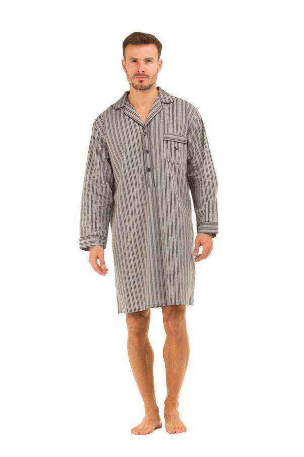 Haigman Mens 100 Cotton Soft Nightshirts. Striped