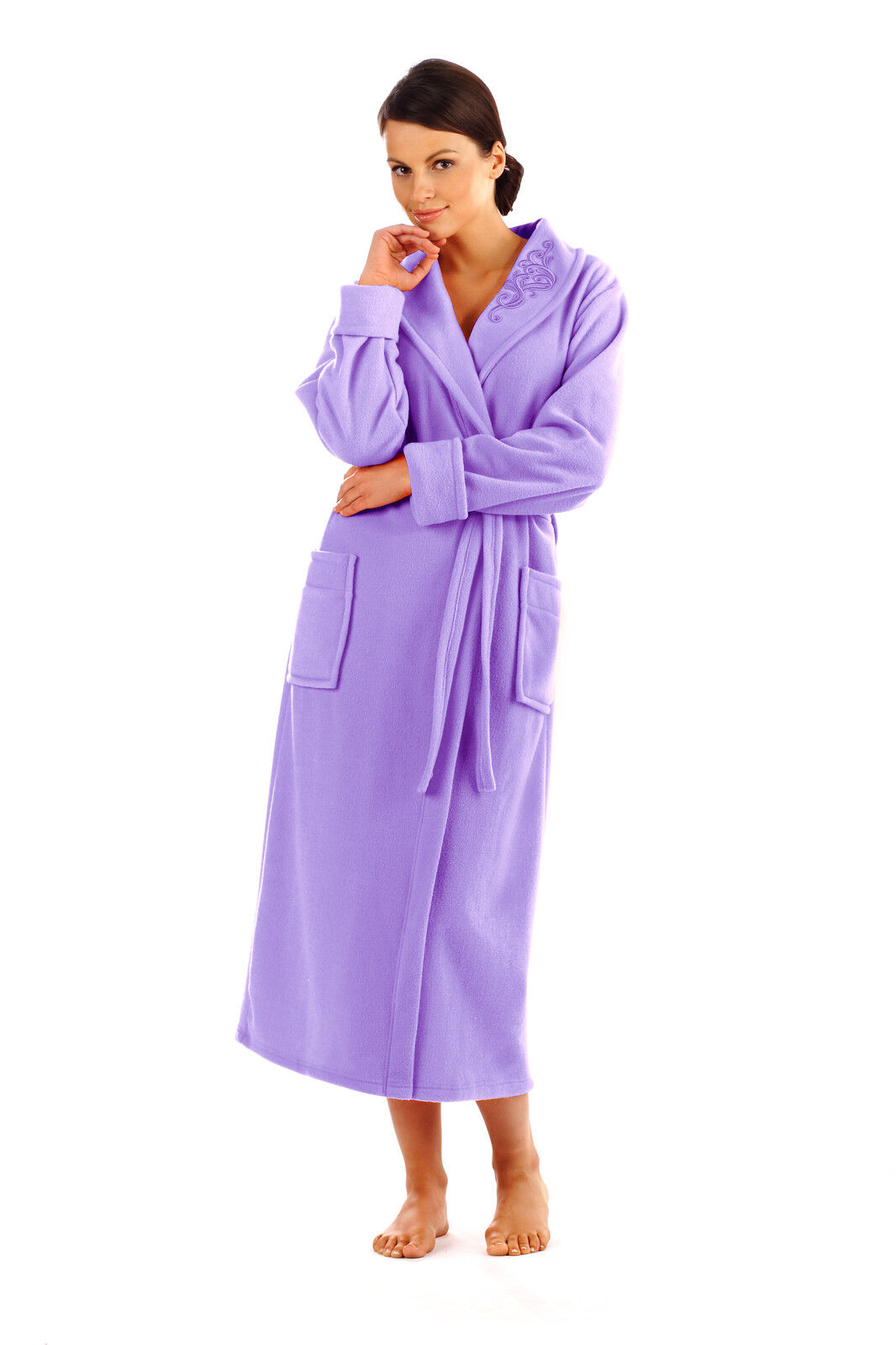 Women Soft Full Length Bathrobe Dressing Gown Housecoat Uk Size 10 12 14 16
