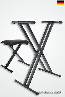 Set, Keyboardständer doppelstrebig+Klavierbank, Ständer Pianositz, verstellbar