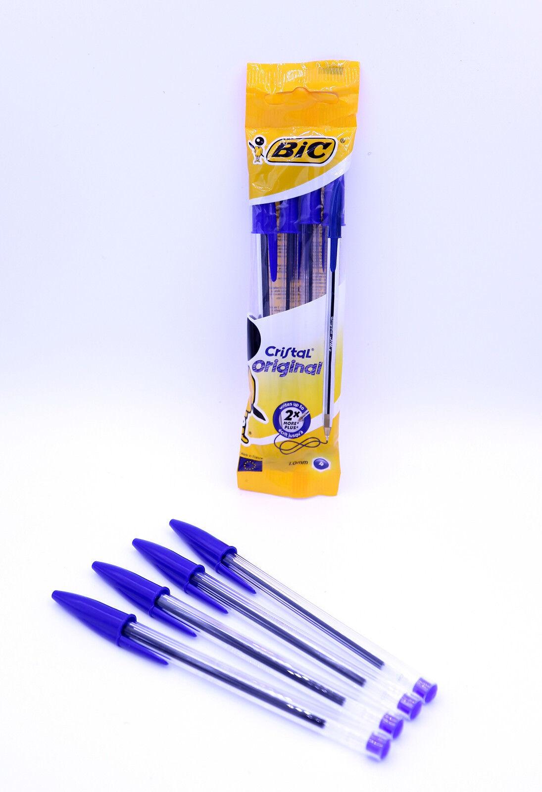 BIC Cristal Original Kugelschreiber Kulli Neu!4er Pack Blau