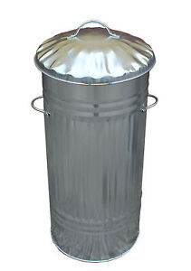 66L Galvanised Metal Bin Slim Tall Kitchen Rubbish Dustbin