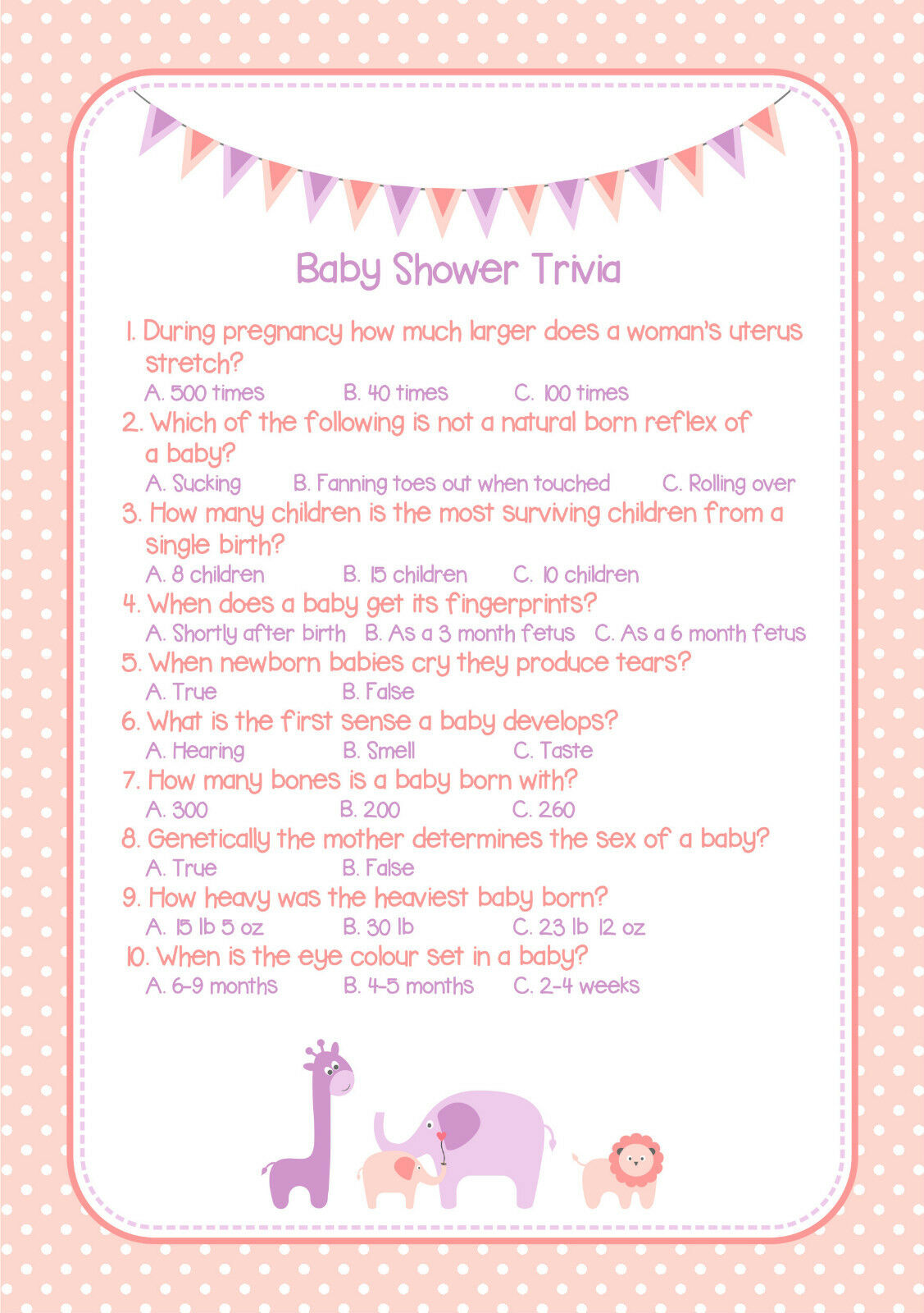 Baby Shower Trivia Game Pink Girl Wow Your Guests
