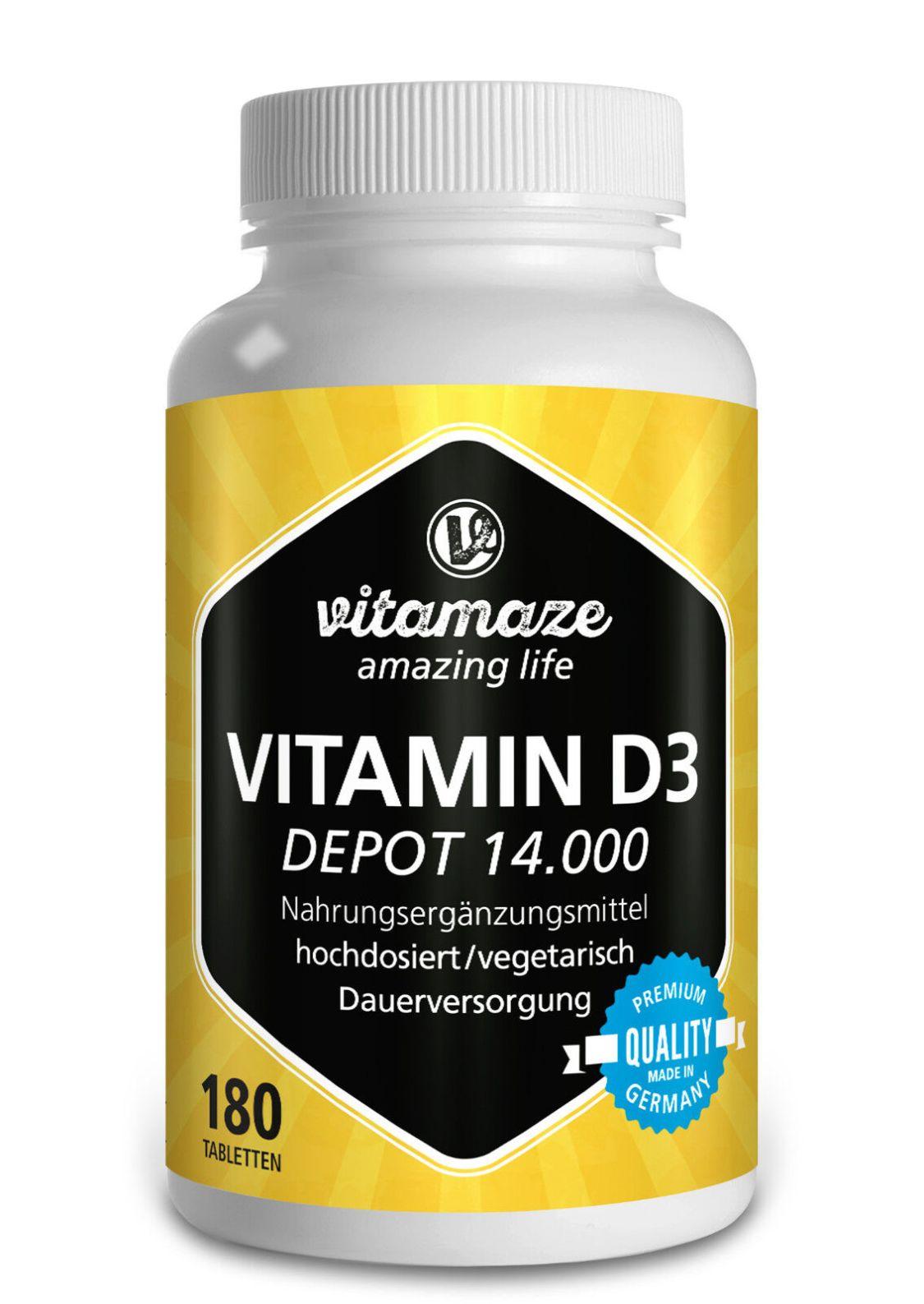 Vitamin D3 Depot 14.000 i e ( iu ) hochdosiert - 180 vegetarische Tabletten