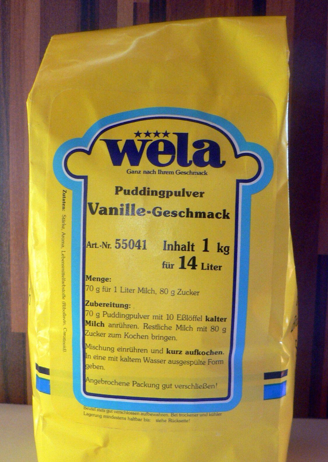 Wela-Vanille-Geschmack Puddingpulver 1 kg Beutel für 14 Liter