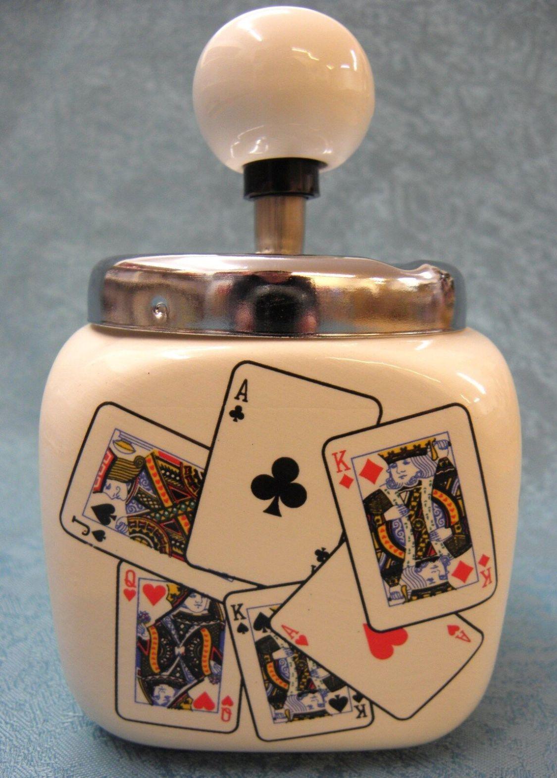 Poker Aschenbecher Spielkarten Drehascher Keramik Ascher Drehaschenbecher NEU