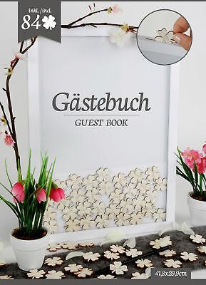 Hochzeit Gästebuch mit 84 Kleeblättern - Hochzeits Deko Holz Rahmen Gästebuch