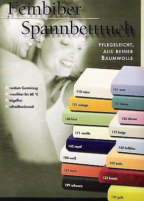Biber-Spannbettlaken-Spannbetttuch 180-200x200 Gelb Baumwolle