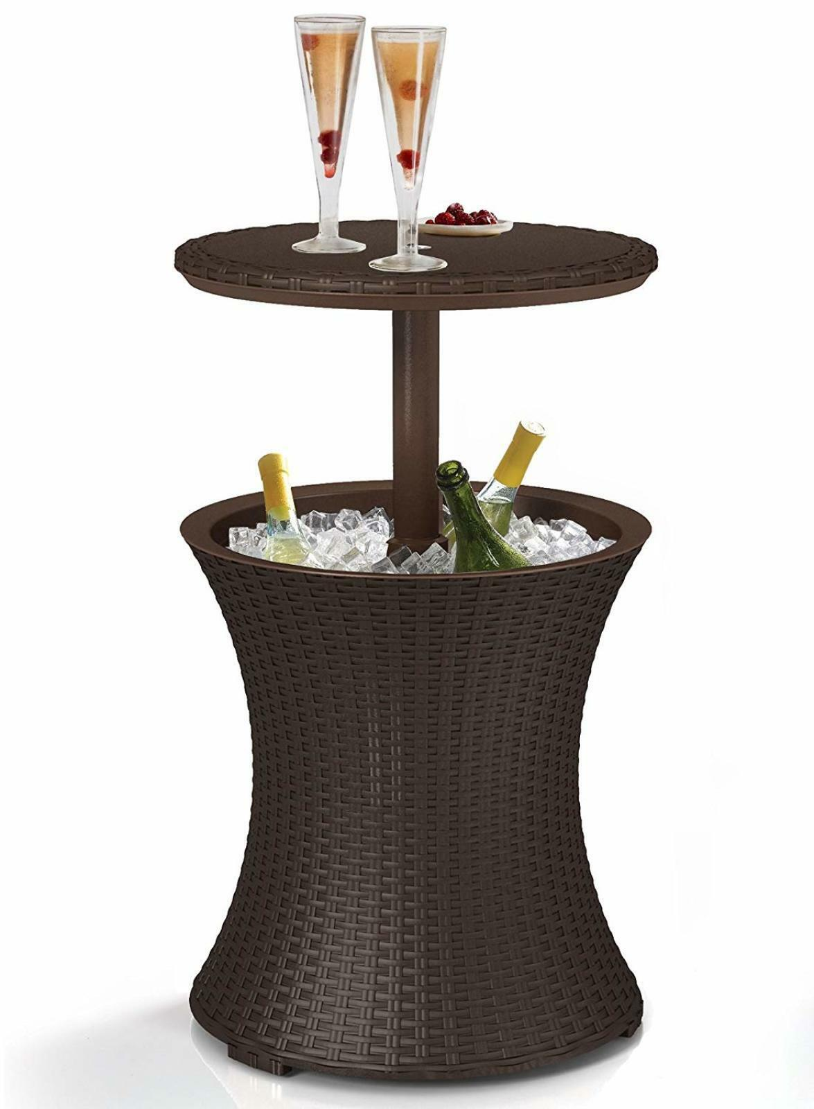 details about ice chest outdoor patio pool cooler table w cover rattan 7 5 gal brown ice box