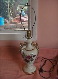 Vintage-1940s-China-Lamp-Ruby-Roses-Gold-Accents-Signed ...