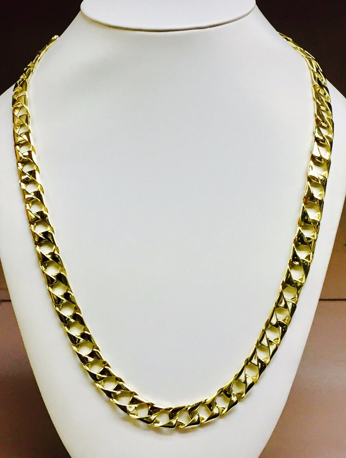 18kt Solid Yellow Gold Handmade Curb Link Mens Chain