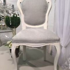 French Louis Chair Sea Grass Ebay Style Bedroom In Laura Ashley Dalton Fabric Dove Grey