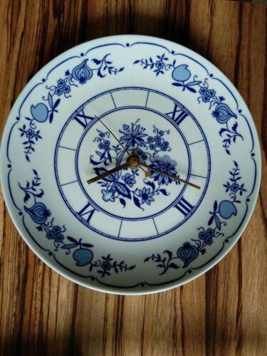 Küchenwanduhr, Zwiebelmuster, Weiß-blau, Uhr, Teller