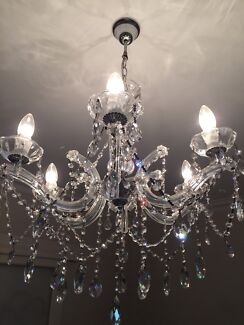 Czech Lead Crystal Chandelier 3 Globes And 6