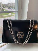 Gucci Black interlocking G Chain Shoulder Bag Authentic