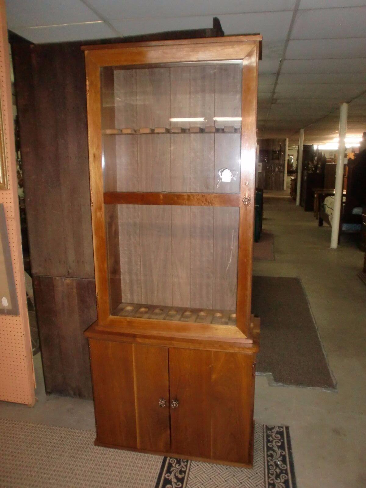2 Piece Glass Door Gun Cabinet 8 Gun Holder Cabinet