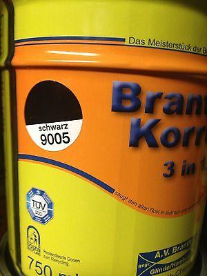Brantho Korrux 3in1 schwarz RAL9005 750ml Rostschutz & Metallschutzfarbe