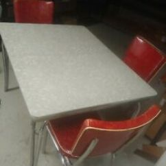 Red Retro Kitchen Table And Chairs Dark Blue Accent Chair Dining Set Ebay Vintage Chrome Formica 6 W Integrated Leaf 1950 S