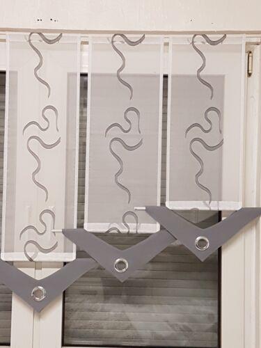Scheibengardine grau weiß  6tlg