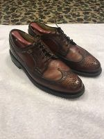 Vintage Dexter Longwing Wing Tip Gunboat USA Shoes Sz 8 D Bourbon Brown Pebbled