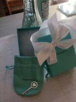 Tiffany & Co Sterling Silver Blue Enamel Key Heart Charm Pendant New Authentic