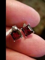 LOVELY 3.29 CT GARNET & DIAMOND 10KT SOLID WHITE GOLD EARRINGS STUD 6MM