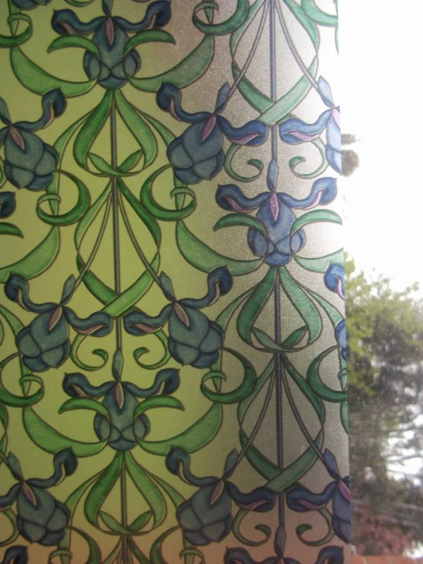 Blue Green Frosted Privacy Stained Glass Window Sticky