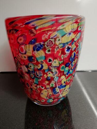schwere runde Glasvase rot bunt Höhe ca. 18 cm