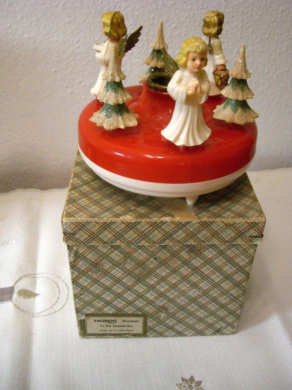 Thorens Schweiz alte Spieluhr O du fröhliche Bakelit Engel mit Made W. Germany