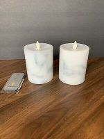 luminara flameless candles set- White/grey Marble Finish  With Remote