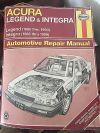 Hanes Acura Legend Integra Repair Manual 1986 1987 1989 1990