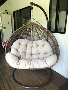 egg chair stand australia stressless side table double pod huge outdoor wicker hanging on lounging