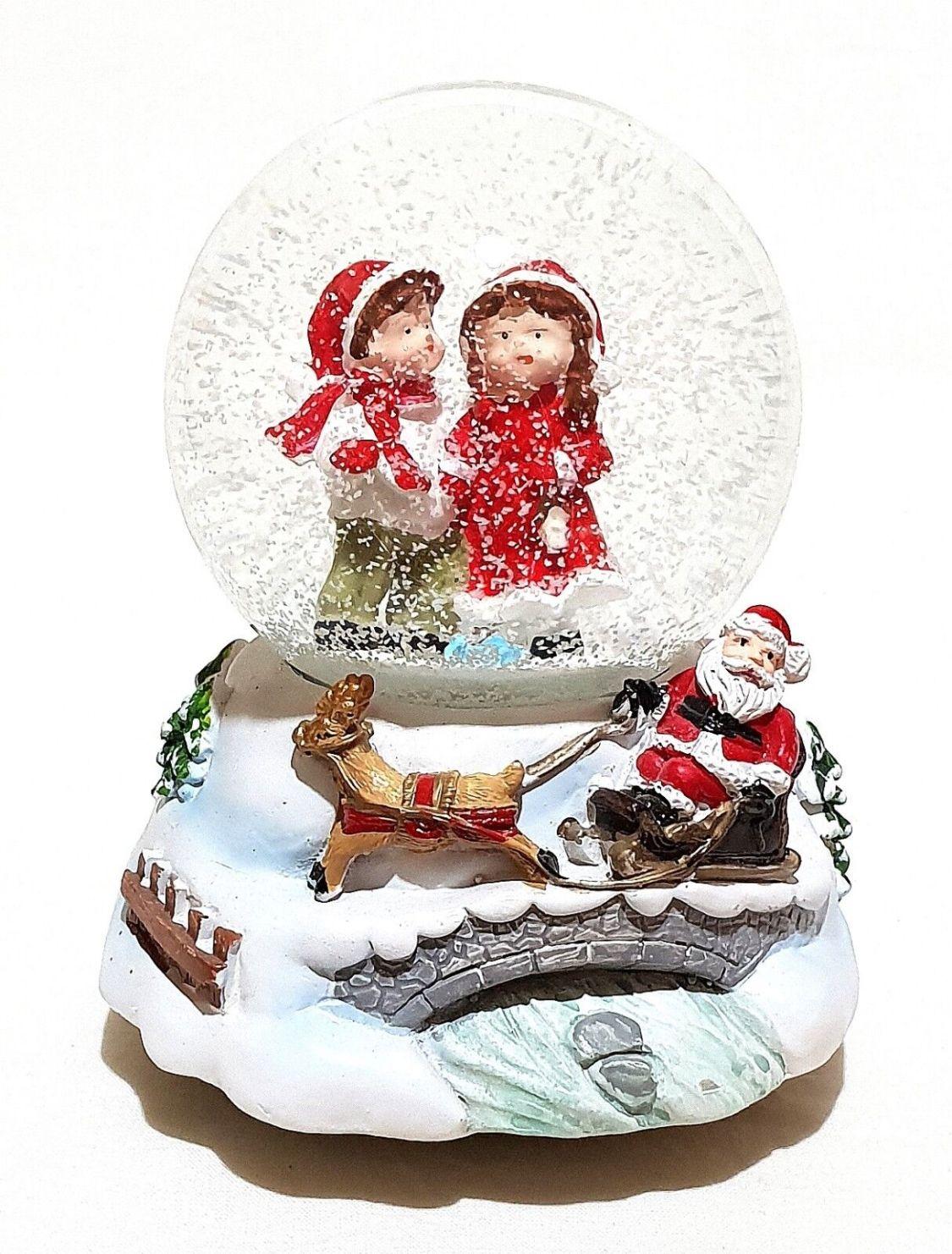 Große Mechanische Spieluhr Schneekugel Schüttelkugel Weihnachtsmann Schlitten