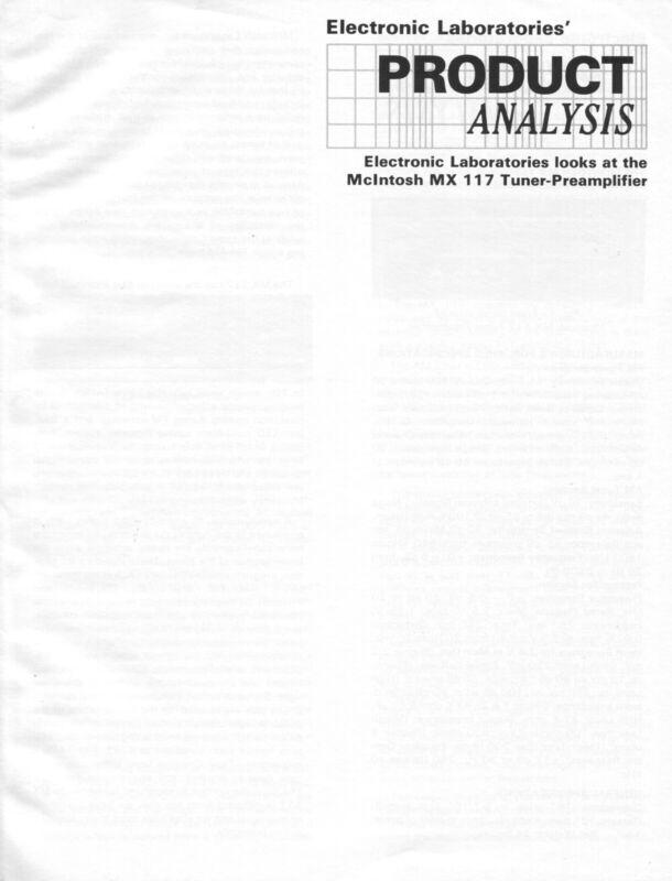 Mcintosh Original MX-117 Tuner Preamp Lab Report Brochure