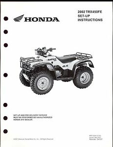 2002-HONDA-TRX450FE-FOREMAN-SET-UP-INSTRUCTION-MANUAL