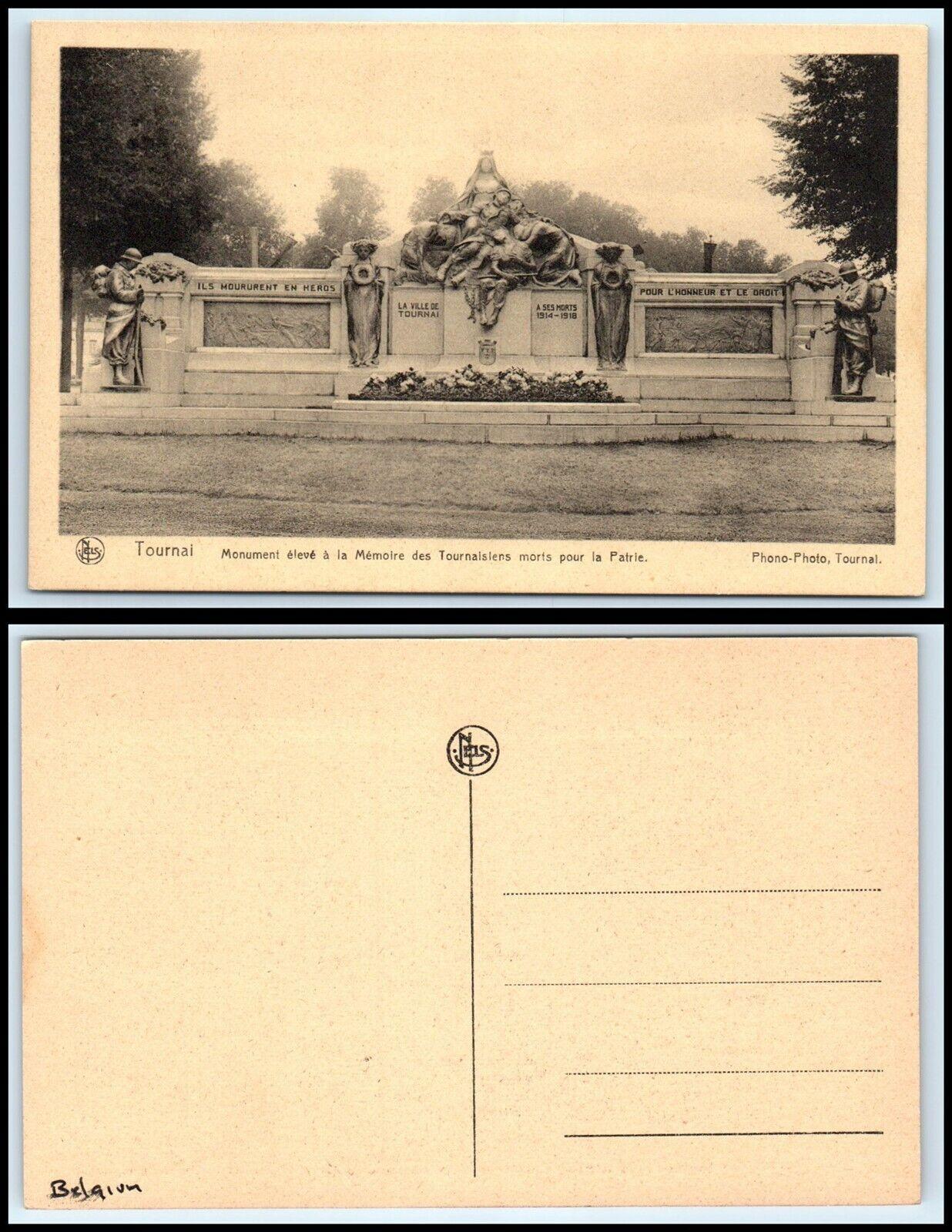 Pour La Patrie L Honneur Et Le Droit : patrie, honneur, droit, BELGIUM, Postcard, Tournai,, Monument, Eleve, Memoire, Tournaisiens
