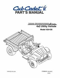 Cub-Cadet-Big-Country-4x2-utility-vehicle-Parts-Manual-No