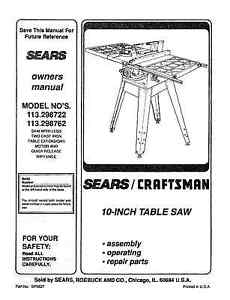 Sears-Craftsman-Table-Saw-Manual-Model-113-298762