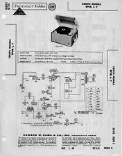 1960 ZENITH BP6B RECORD PLAYER PHONOGRAPH SERVICE MANUAL