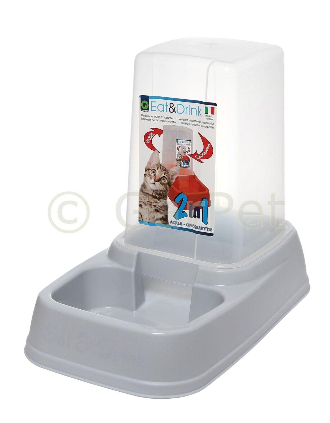 Hunde Katzen Futterspender Wasserspender Futter Wasser Napf Automat 2in1 3,7 L