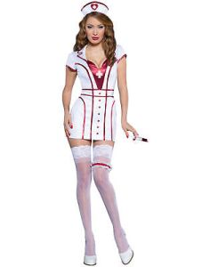 Naughty Night Nurse White Red Doctor Uniform Dress Adult Womens Costume