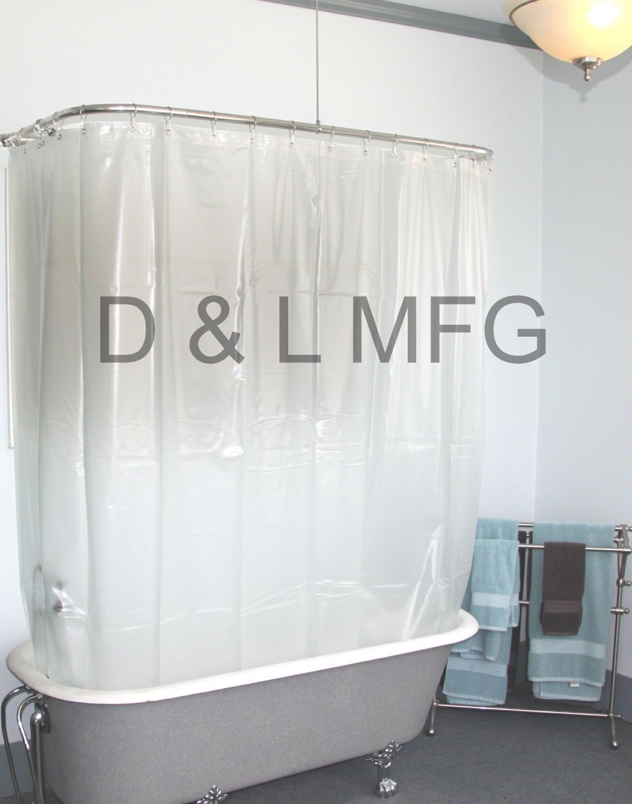 Details About Heavy Duty Clawfoot Vinyl Shower Curtain Opaque Without Magnets 180 X 70 Pl
