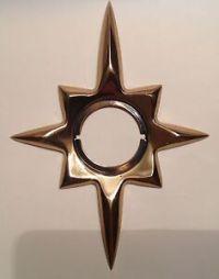 Vintage Mid Century Brass Atomic Starburst Door Knob